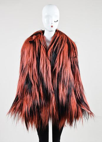 Red and Black Gucci Goat Fur Long Hair Coat  Frontview 2
