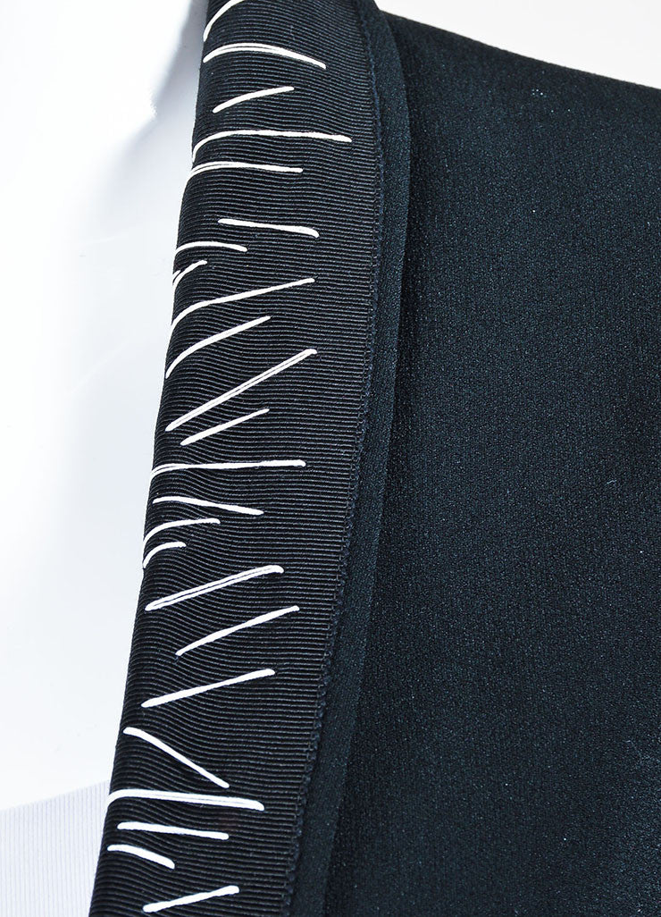 Black Haider Ackermann Ribbed Crepe Topstitched Blazer Detail
