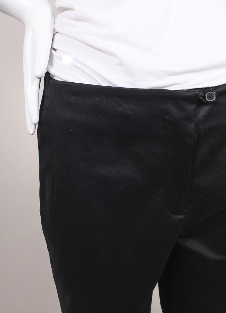 "Jil Sander New With Tags Black Sateen Cotton Straight Leg ""Giulio"" Trousers Detail"