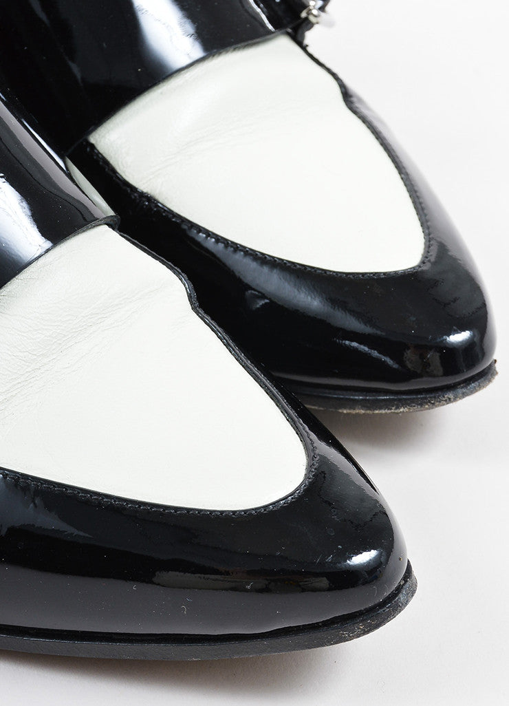 Jimmy Choo Black and Cream Patent Leather Buckled Oxfords Detail
