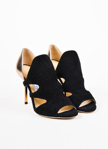 "Jimmy Choo Black and Gold Suede Metallic Leather Cut Out ""Tarine"" Sandals Frontview"