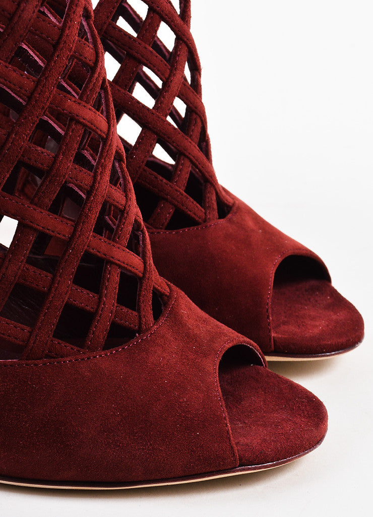 "Jimmy Choo Maroon Red Suede Cage ""Drift"" High Heeled Booties Detail"