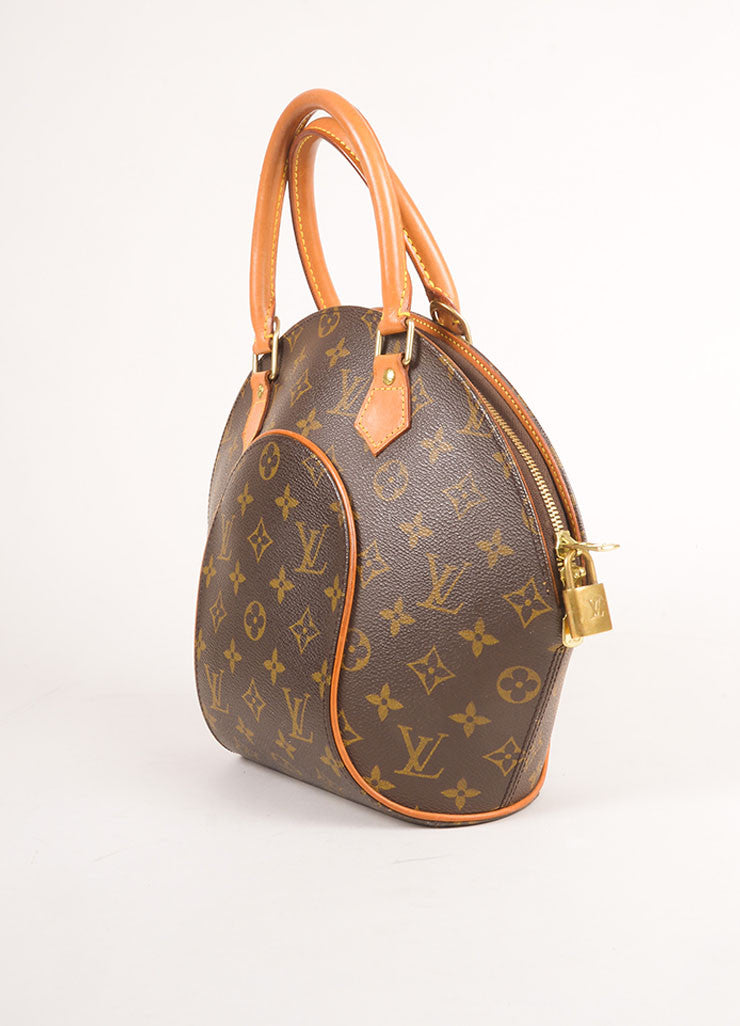 "Louis Vuitton Brown Coated Monogram Canvas Hardshell ""Ellipse PM"" Handbag Sideview"