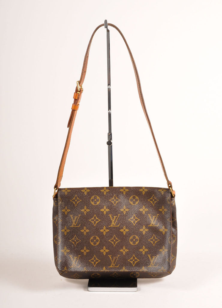 "Louis Vuitton Brown Monogram Coated Canvas ""Musette Tango"" Shoulder Bag Backview"