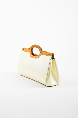 "Cream Louis Vuitton ""Perle"" Leather Monogram ""Roxbury Drive"" Bag Side"