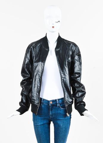 Maison Martin Margiela Black Perforated Leather Zip Up Bomber Jacket Front