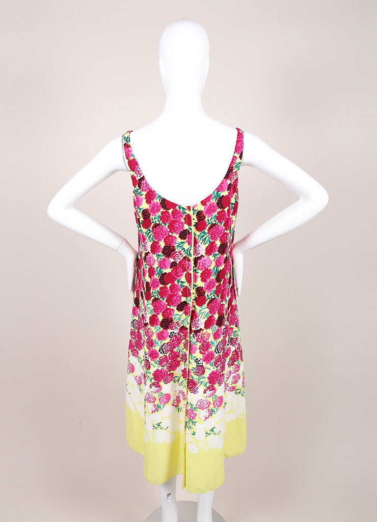 Marc Jacobs New With Tags Pink and Yellow Floral Print Sleeveless Scoop Neck Crepe Dress Backview