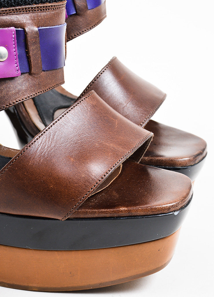 Purple and Brown Marni Leather Horse Bit Platform Slingback Sandals Detail