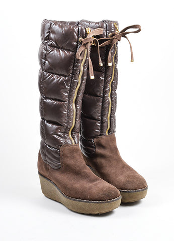 Brown Moncler Suede Nylon Puffer Knee High Wedge Heel Zip Tie Boots Frontview