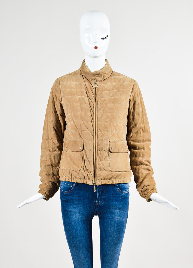 Moncler Tan Suede Down Quilted Puffer Coat Frontview 2