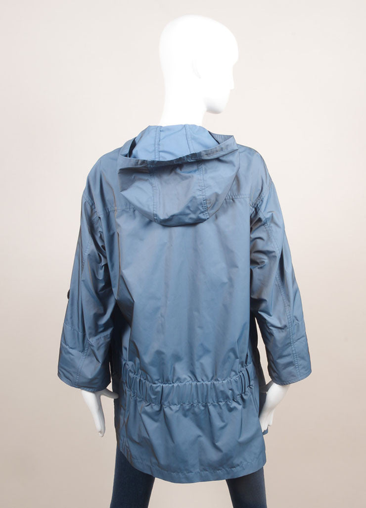 Moorer New With Tags Blue Hooded Rain Coat Backview