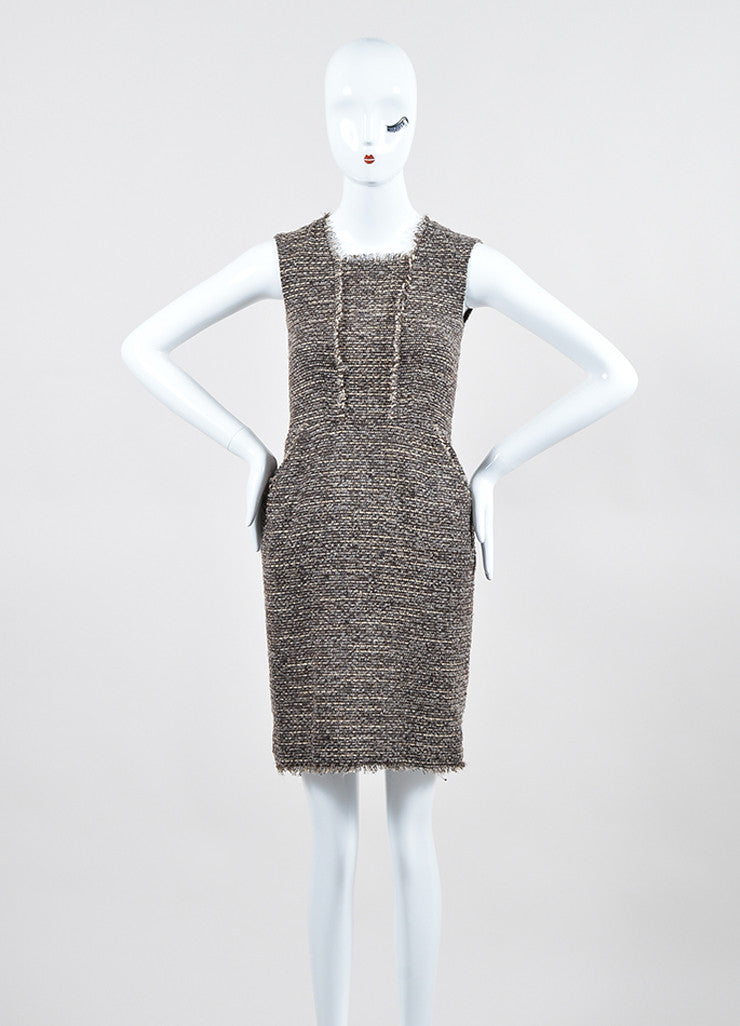 Brown, Grey, and Cream Oscar de la Renta Square Neckline Sleeveless Tweed Dress Frontview