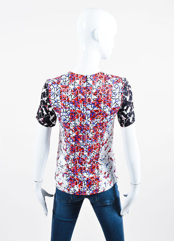 White, Black, Blue, and Red Silk Jacquard Geometric Short Sleeve Top Backview
