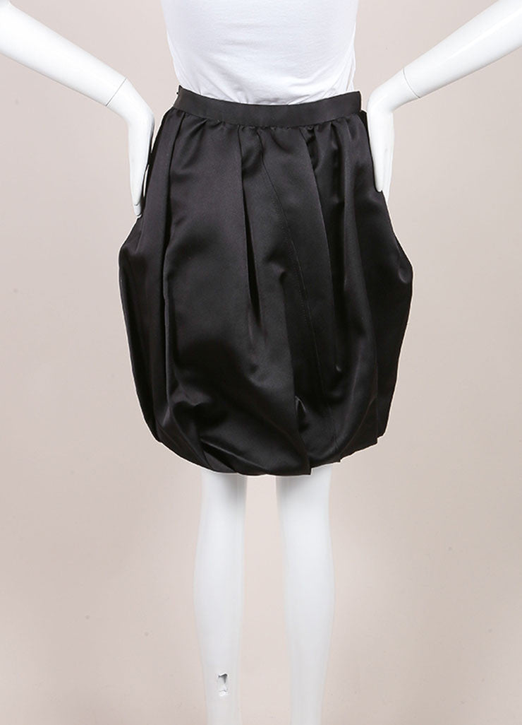 Prada Black Silk Bubble Skirt Backview