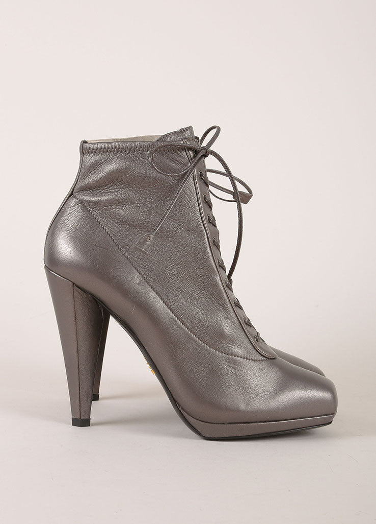 Prada Grey Metallic Leather Lace Up Square Toe Heeled Ankle Boots Sideview