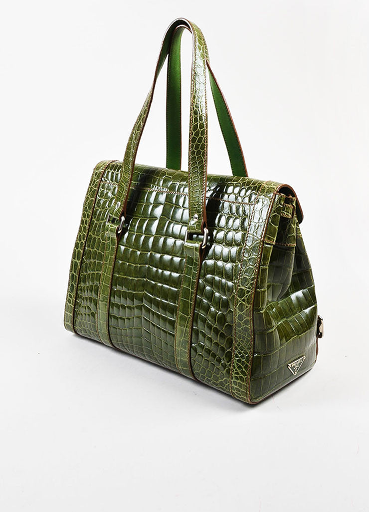 "Prada Green Genuine Crocodile ""Lucido Lock Flap"" Satchel Shoulder Bag Sideview"