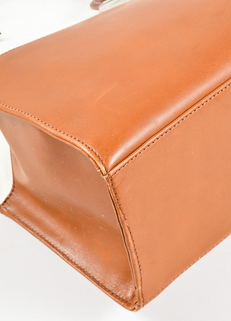 Ralph Lauren Brown and Tan Canvas and Leather Panel Tote Bag Detail
