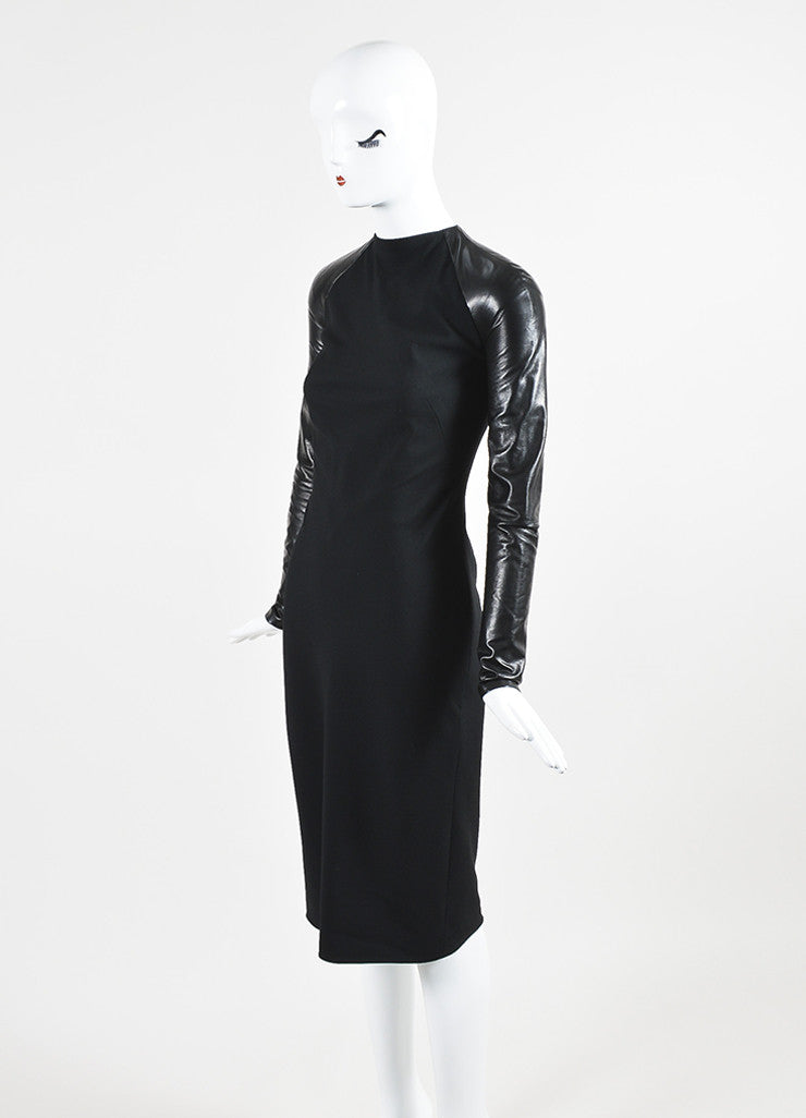 "Ralph Lauren Collection Black Wool Leather Midi ""Megan"" Dress Sideview"