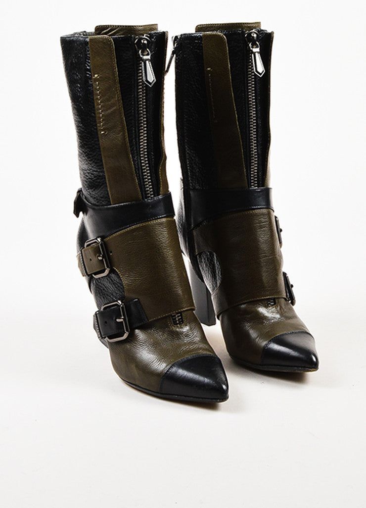 Reed Krakoff Black and Taupe Leather Zipper Harness Buckle Pointed Toe Boots Frontview
