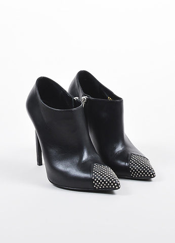 Black Saint Laurent Leather Pointed Studded Cap Toe Stiletto Ankle Booties Frontview