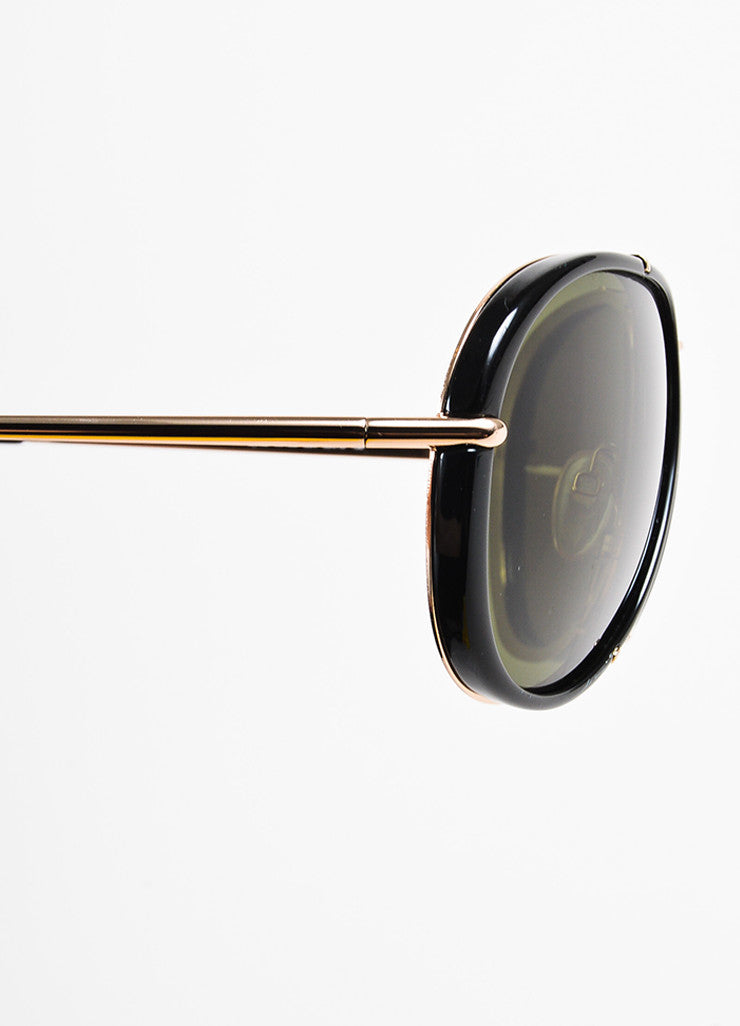 "Tom Ford Black and Gold Toned Frame Aviator ""Cyrille"" Sunglasses Detail"