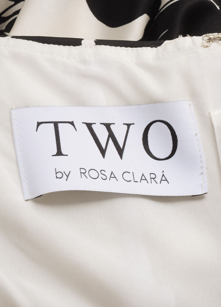 Two by Rosa Clara Cream and Black Floral Print Ruched Strapless Gown Brand