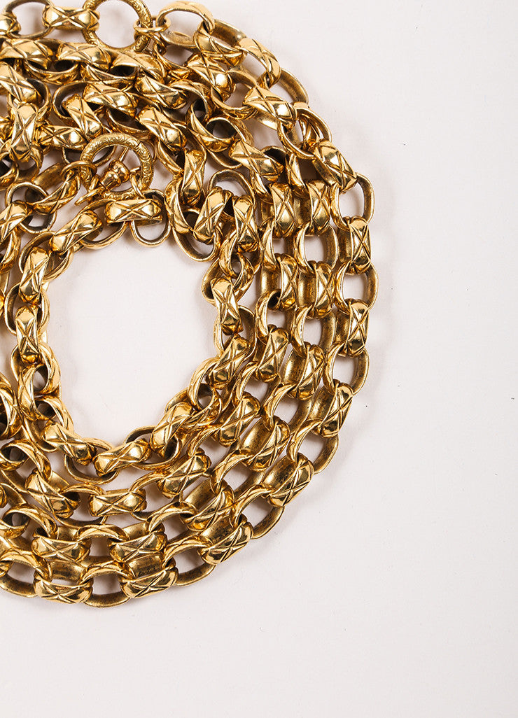 "Chanel Gold Toned Rhinestone ""CC"" Medallion Chain Belt Detail 2"