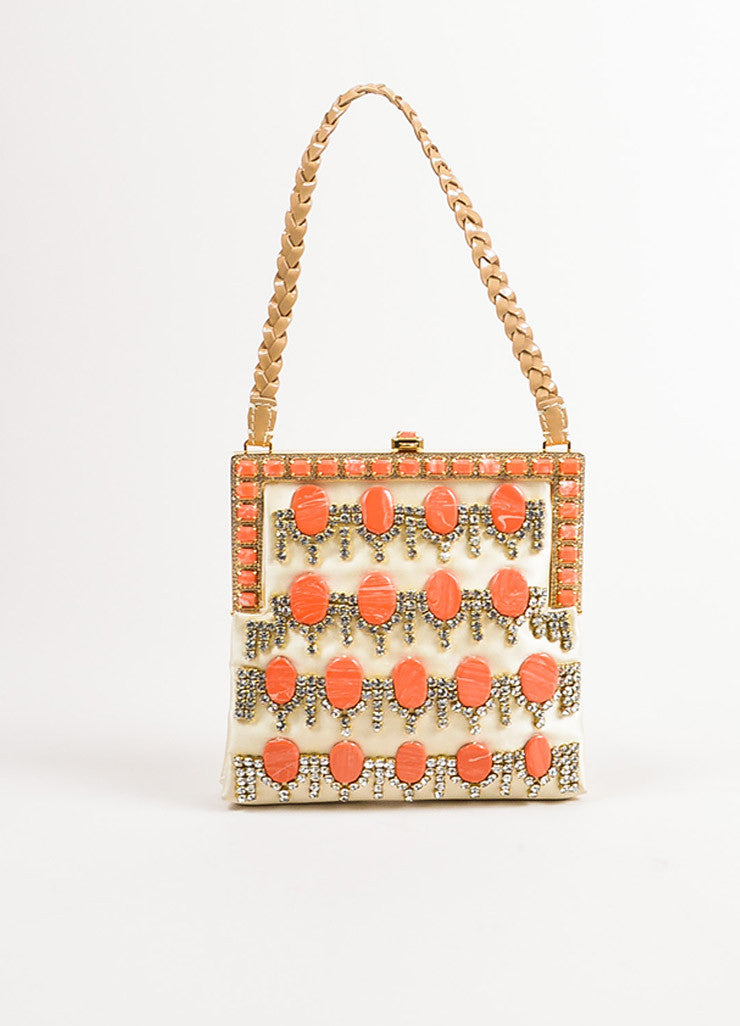Valentino Cream, Orange, and Beige Satin Rhinestone Embellished Mini Handbag Frontview