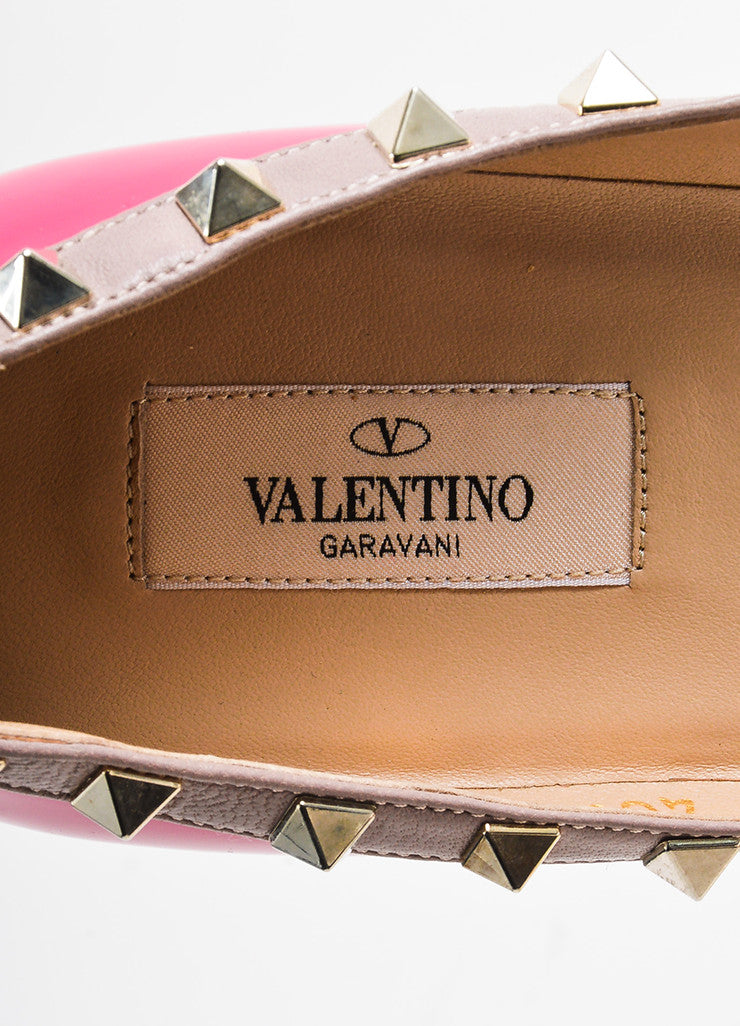 "Valentino Pink and Gold Toned Patent Leather ""Rockstud"" Flats Brand"