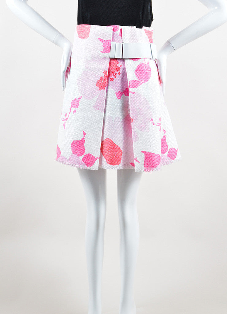 Victoria Beckham White and Pink Woven Raffia Floral Belted Skirt Frontview