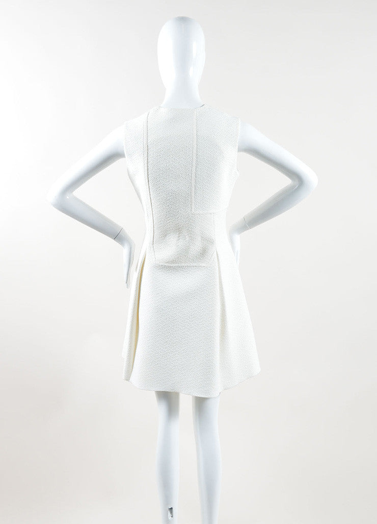 Victoria Beckham Cream Textured Zip Up Pleated Sleeveless Dress Backview