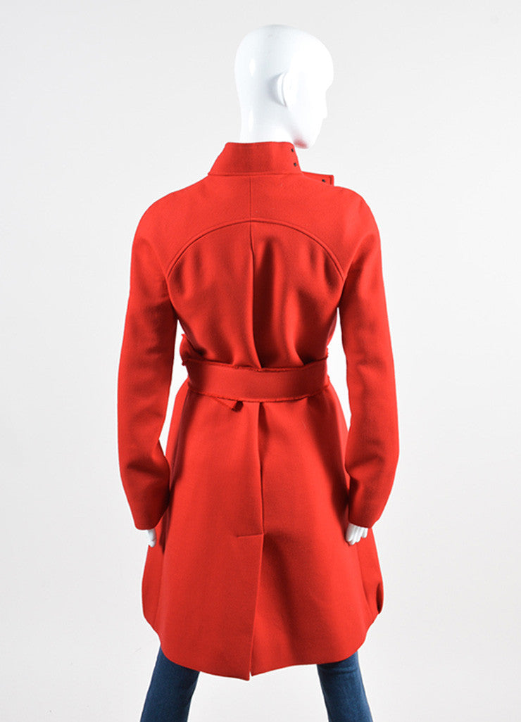 Red Victoria Beckham Wool Belted Button Coat Backview