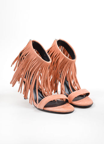 "Elyse Walker Peach Suede Fringe Ankle Strap ""Alex"" Heeled Sandals Frontview"
