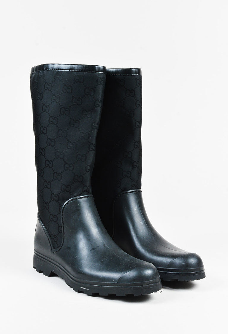 Gucci Nylon Rubber Embossed \'GG\' Monogram Rain Boots – Luxury ...