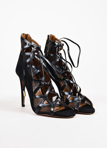 "Aquazzura ""French Lover"" Black Suede Mesh Heels Front"