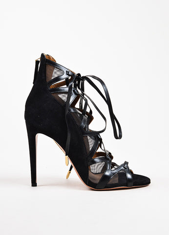 "Aquazzura ""French Lover"" Black Suede Mesh Heels Side"