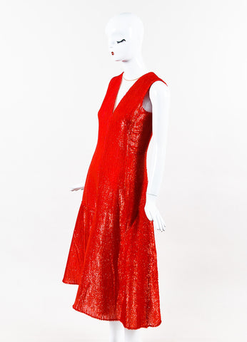 Akris Red Silk Blend Eyelash & Honeycomb Mesh Detailed Dress Sideview