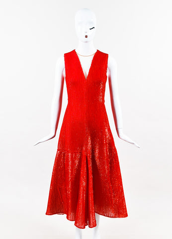 Akris Red Silk Blend Eyelash & Honeycomb Mesh Detailed Dress Frontview