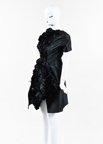 Comme des Garcons NWT Black Satin Ruffled Dress angle