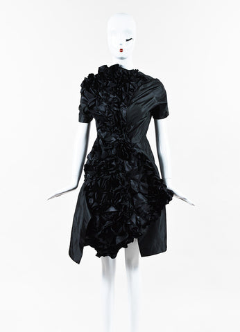 Comme des Garcons NWT Black Satin Ruffled Dress front