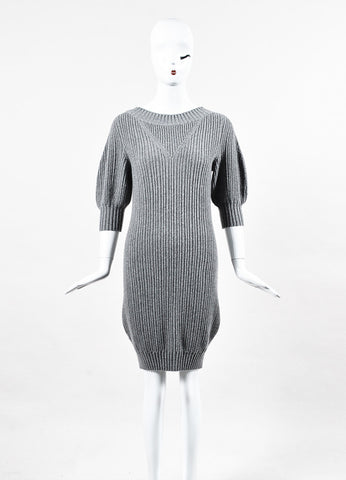 Chanel 08A Grey Ribbed Cashmere Sweater Dress
