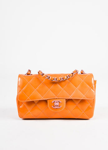 Chanel Orange and Purple Patent Leather Chain Strap 'CC' Flap Bag Frontview