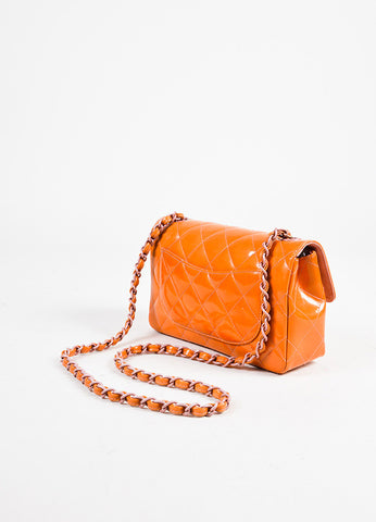 Chanel Orange and Purple Patent Leather Chain Strap 'CC' Flap Bag Sideview