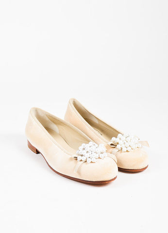 "Stubbs & Wootton Beige ""Gates"" Pearl Brooch Round Toe Flats Front"