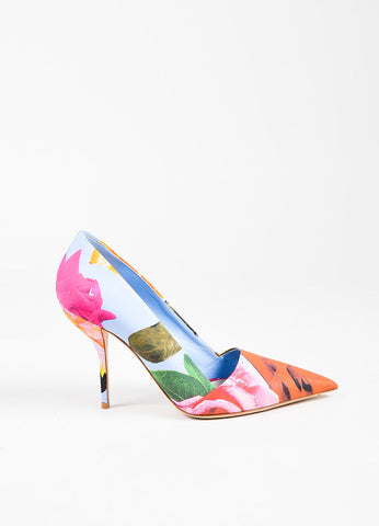 Christian Dior Multicolor Satin Floral Print Pointed Pumps