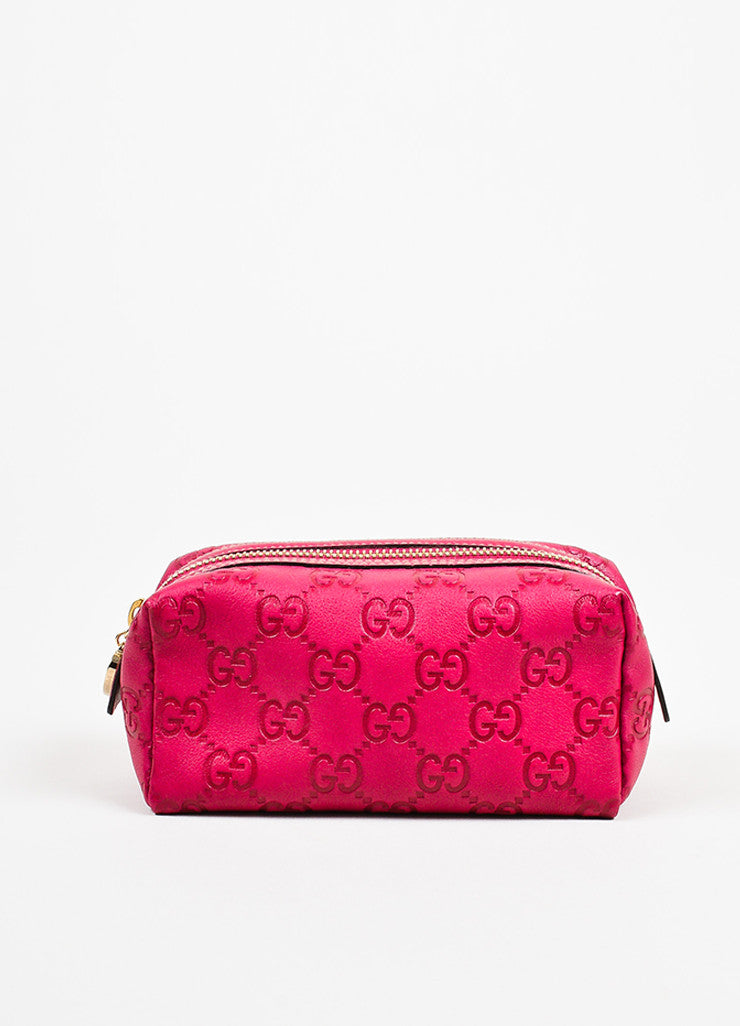 Gucci Pink Guccissima Leather 'GG' Monogrammed Zip Cosmetics Pouch Frontview