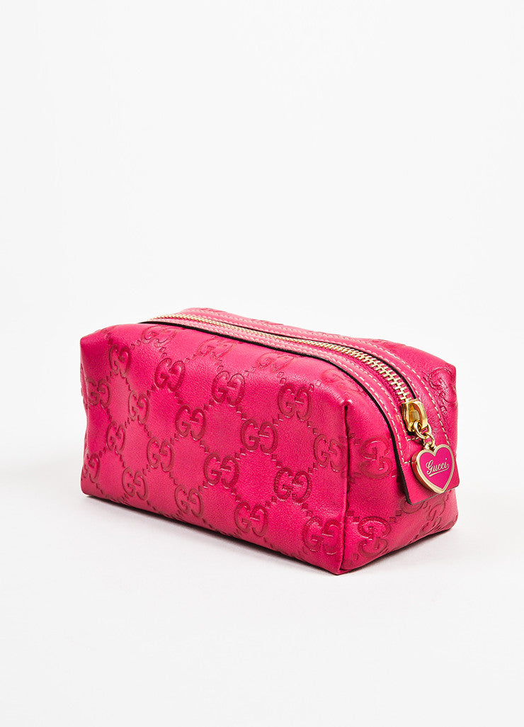 Gucci Pink Guccissima Leather 'GG' Monogrammed Zip Cosmetics Pouch Sideview