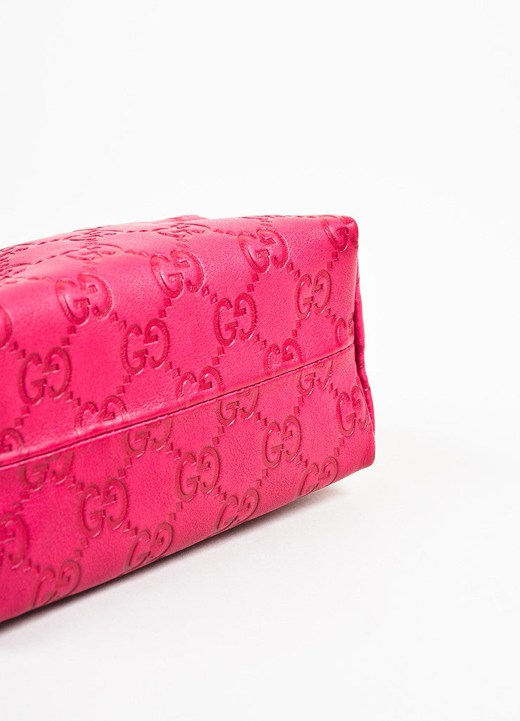 Gucci Pink Guccissima Leather 'GG' Monogrammed Zip Cosmetics Pouch Bottom View