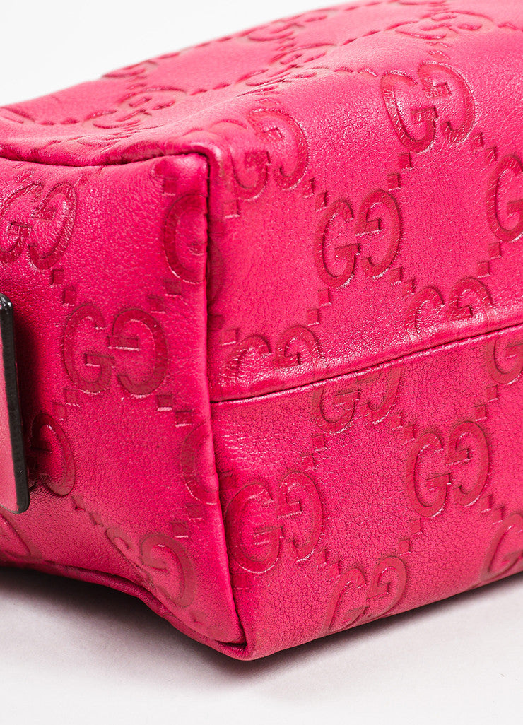Gucci Pink Guccissima Leather 'GG' Monogrammed Zip Cosmetics Pouch Detail