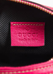 Gucci Pink Guccissima Leather 'GG' Monogrammed Zip Cosmetics Pouch Brand
